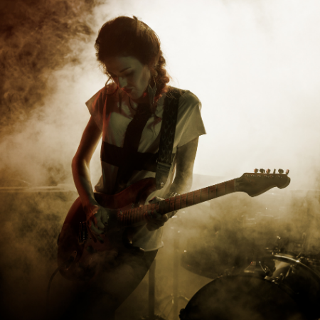 Guitar Player shredding on a London stage