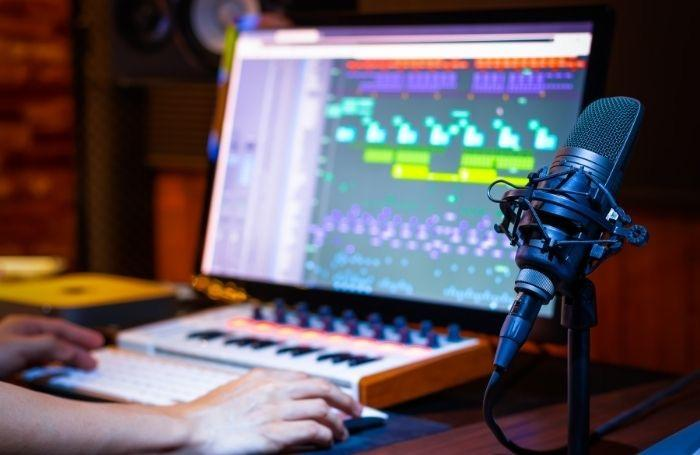 Audio Engineer Student in an Music Production Lesson